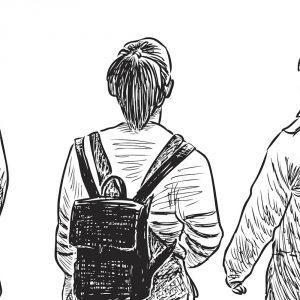 Illustration of three students walking together