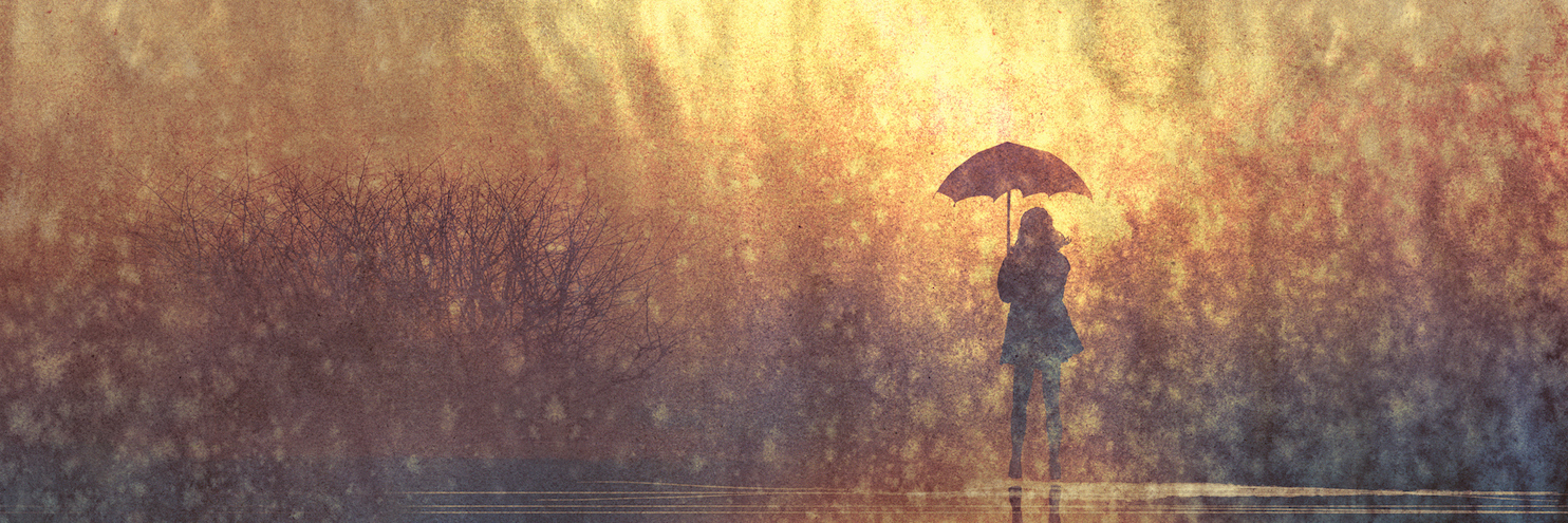 Illustration of woman standing with umbrella in the rain