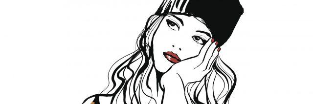 Young beautiful melancholic woman traveling - Vector illustration