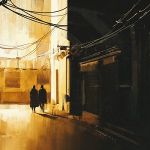 couple walking in alley at night painting