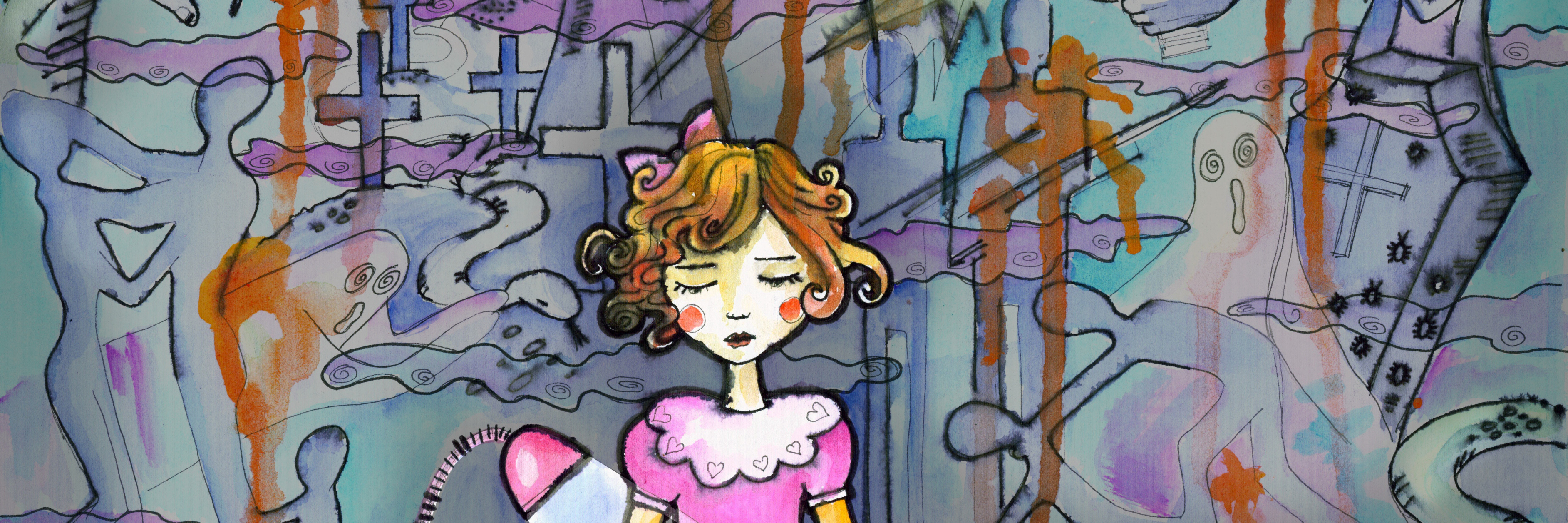 Little girl by her working table drawing sunshine. Horror surrounding. Watercolor drawing