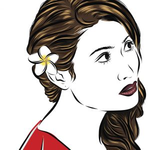 Vector fashion illustration sketch girl in red dress. EPS