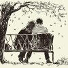 Illustration of couple sitting on bench next to tree with falling leaves, with woman's head resting on man's shoulder
