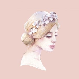 A water color illustration of a woman, wearing a flower headband.