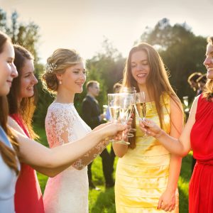 bride and bridesmaids clinking glasses at a wedding reception