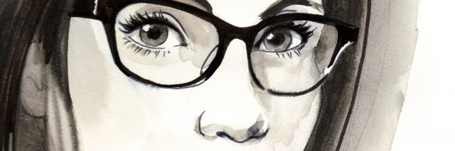 Ink sketch of a girl in glasses