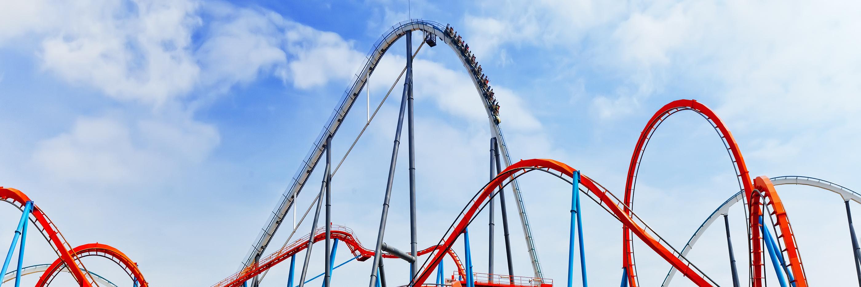 Roller coaster in amusement park.