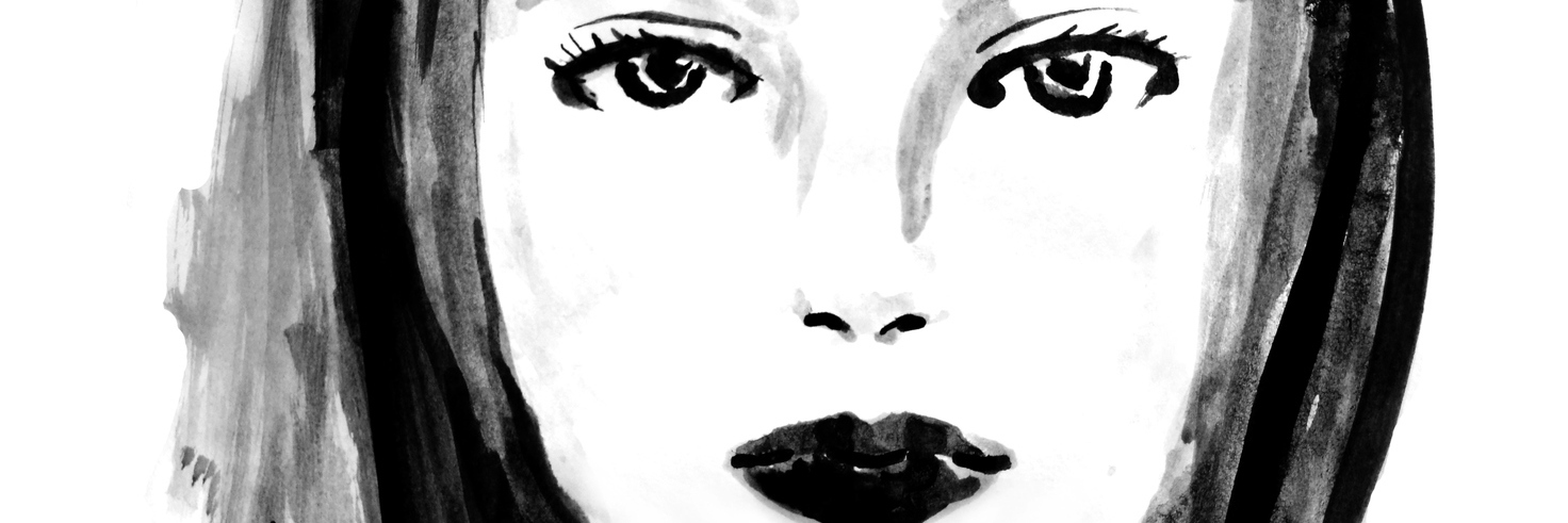 black and white drawing of a woman's face