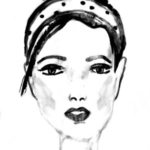 ink drawing of a woman with her hair in a bun