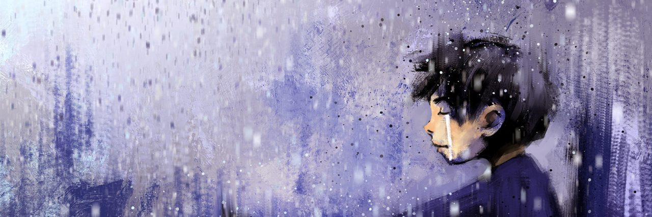 digital painting of sad boy with bouquet in rainy day, acrylic on canvas texture