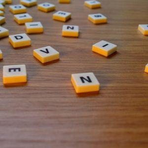 Mixed-up Scrabble tiles.