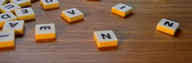 Mixed-up Scrabble tiles.
