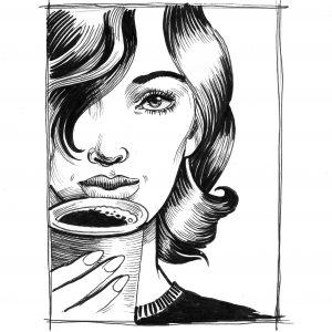 Ink sketch of a beautiful woman drinking coffee