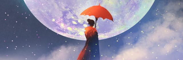 illustration of a woman holding a red umbrella and standing in front of the moon