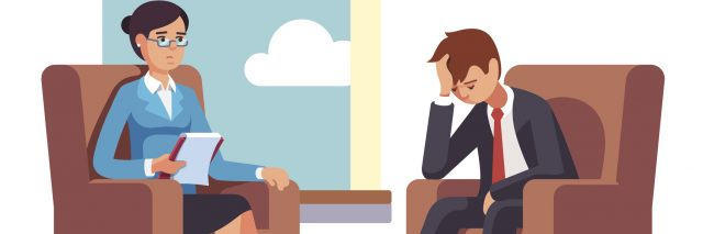 Broken businessman talking to psychologist. Psychotherapy counseling. Business man dealing with stress. Flat style modern vector illustration.
