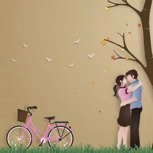 Illustration of love in autumn season, with couple standing hugging on a grass field with pink bicycle.