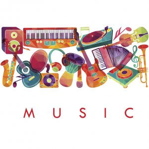 Drawing of colorful musical instruments including saxophone, guitar, accordion, piano.