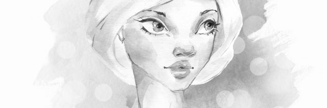 black and white watercolor painting of a woman