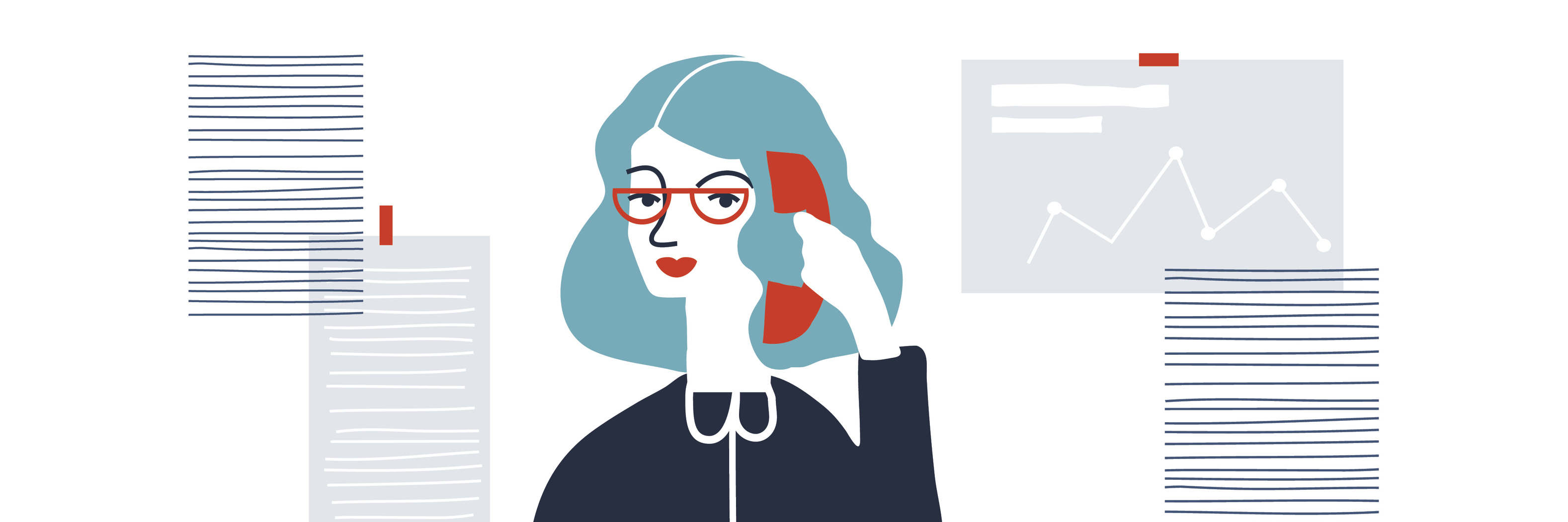 Woman financial accountant. Secretary vector illustration. Young businesswoman. Creative modern vector illustration.