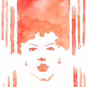 orange watercolor painting of a woman