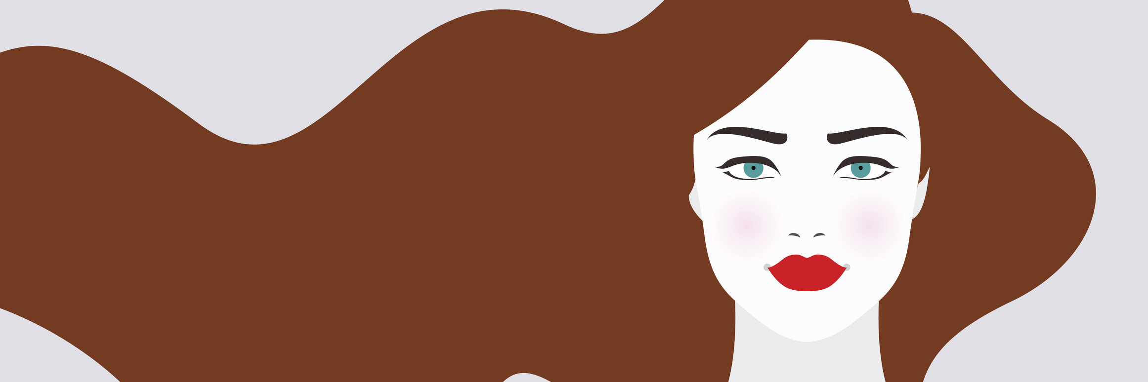 Vector illustration of woman with long brown hair
