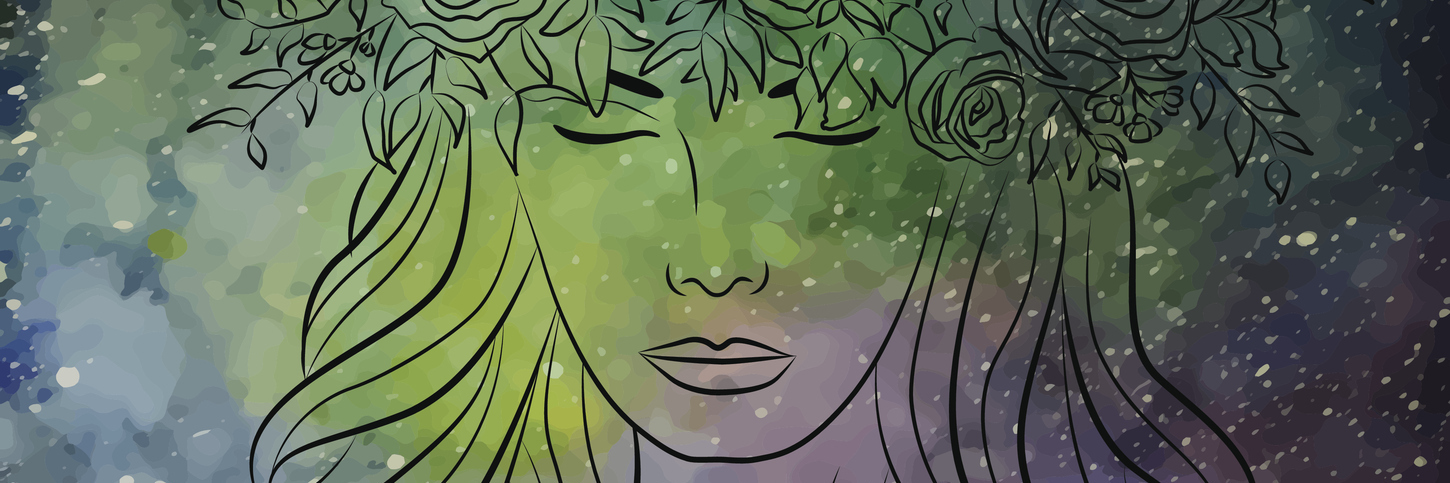 outline of a woman wearing a flower crown against a night sky with lots of stars