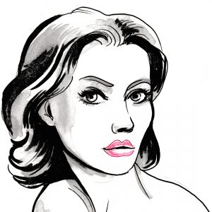 Black and white ink illustration of a beautiful woman holding a glass of red wine