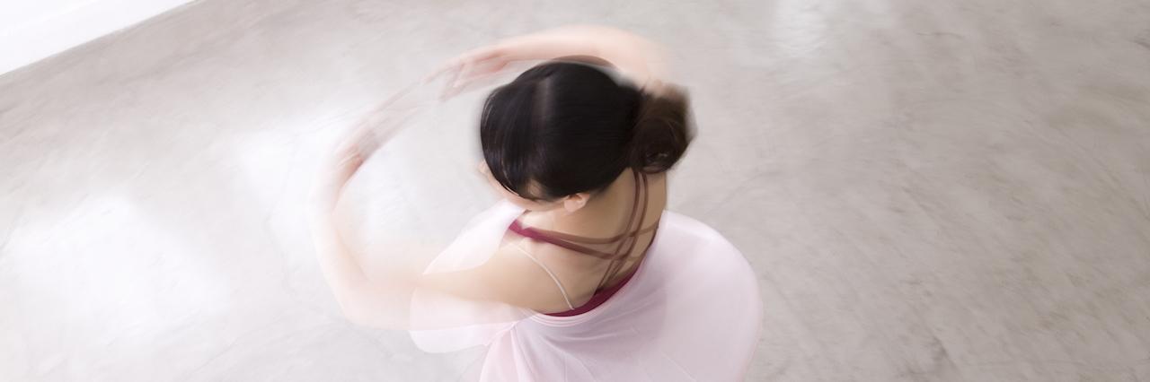 A ballerina spinning, ariel shot