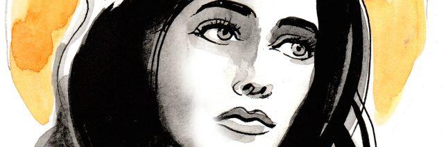Watercolor image of a saint woman
