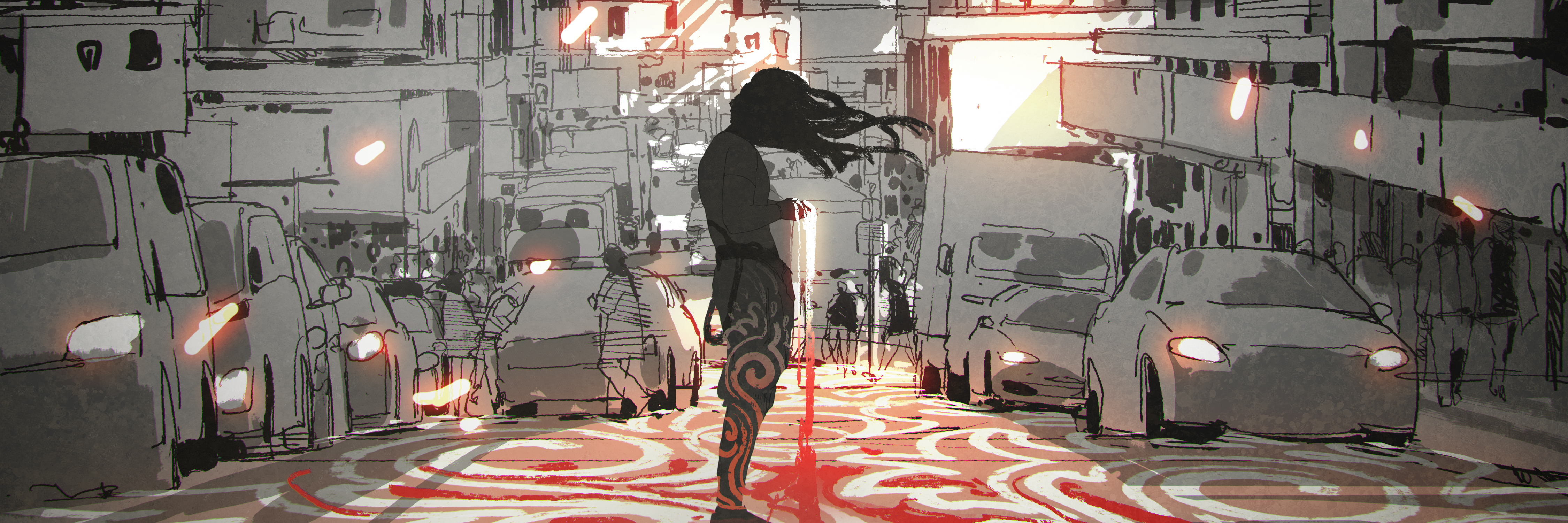 man with long hair standing in city with graphic pattern on street, digital art style, illustration painting
