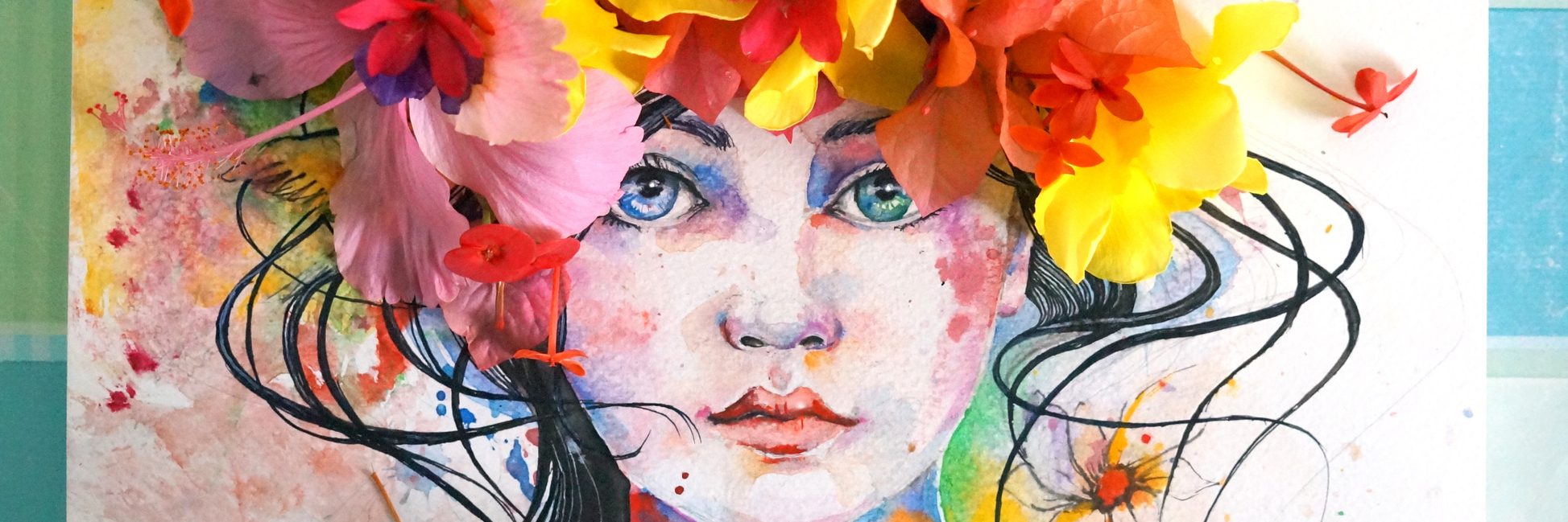 watercolor painting of a woman with flowers placed on top of her head