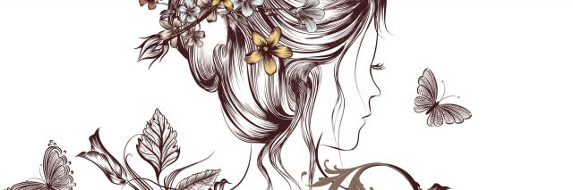 An illustration of a woman facing away, with nature surrounding her.