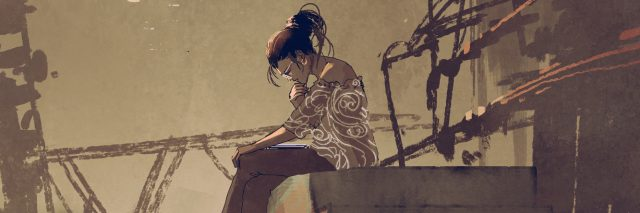 woman reading a book and sitting on stairs against industrial buildings background, digital art style, illustration painting