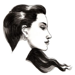 Ink illustration of a pretty woman