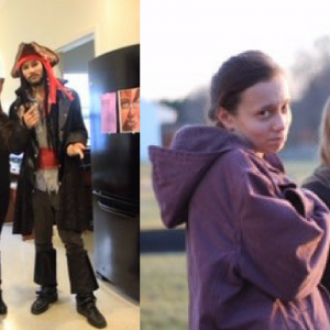 side by side photos of girl and her brother dressed up for halloween, and girl and her cousin standing outside