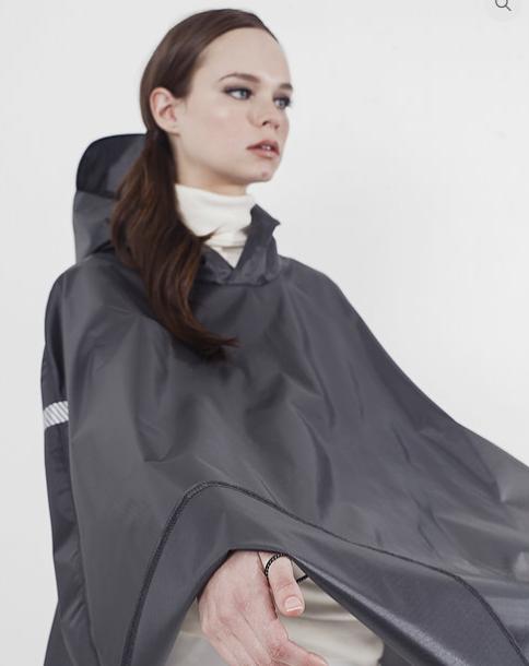 Gray celverhood raincoat on model in wheelchair