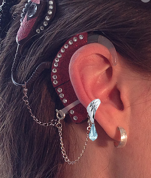 Red cochclear implant ear cuff with crystals