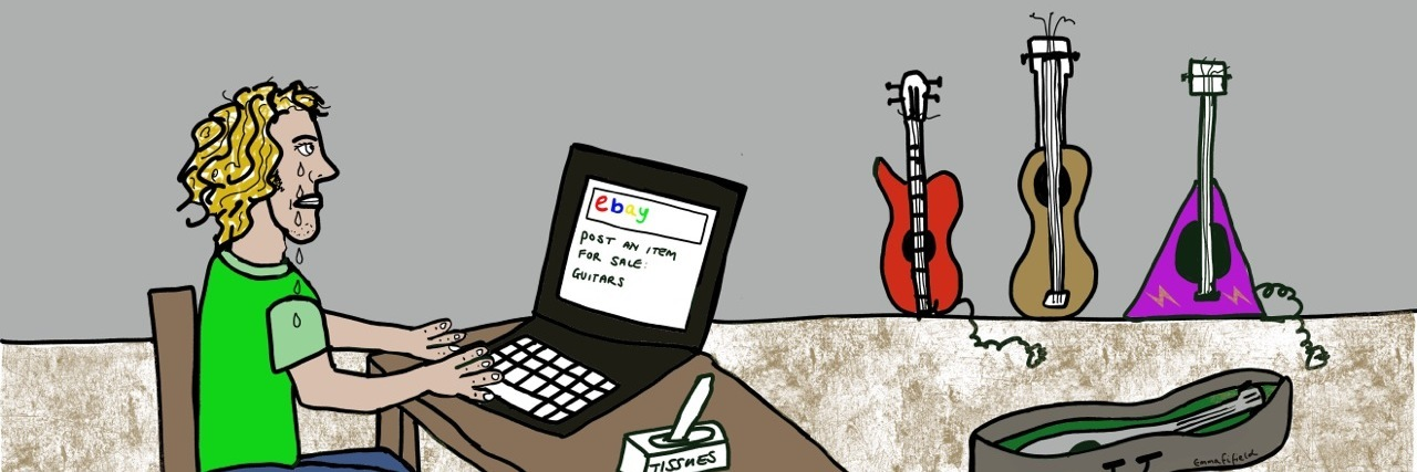 illustration of a person selling their guitars on ebay