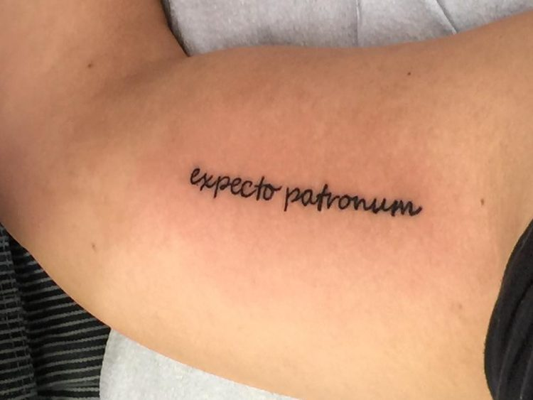 expecto patronum tattoo on arm
