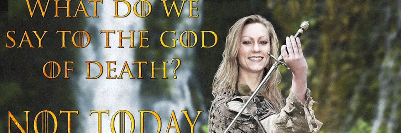 kathy soppet photoshopped into a knight's outfit holding a sword with text that reads 'what do we say to the god of death? not today'