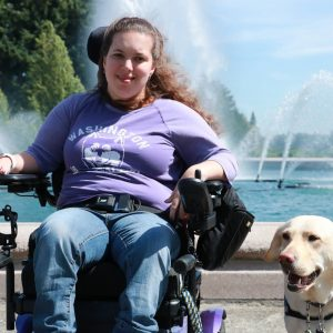 Macy with her service dog.