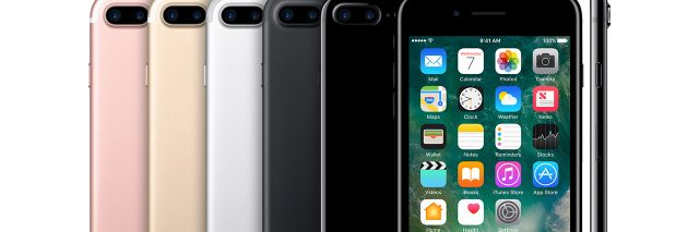 Row of iPhone 7s with various colors showing.
