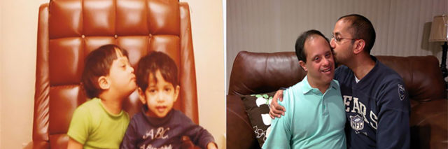 Kishore and Das as children and later as adults.
