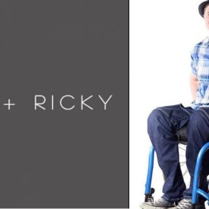 PATTI +RICKY logo next to man in wheelchair