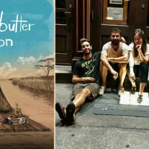 The Peanut Butter Falcon movie poster next to the cast and crew of the movie