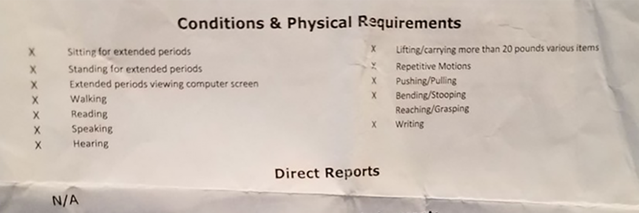 Physical requirements form for a job.