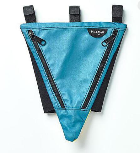 Triangular blue bag to attach to a wheelchair