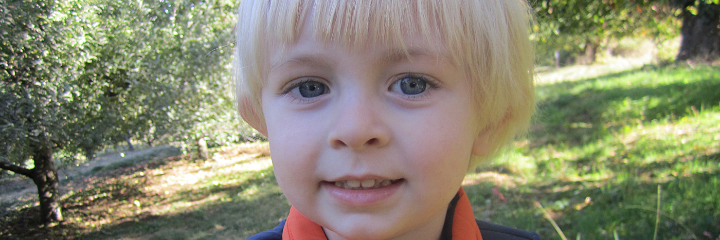 Little boy with blonde hair, waeing blue shirt and orange vest. Close up of his face, part smiling.