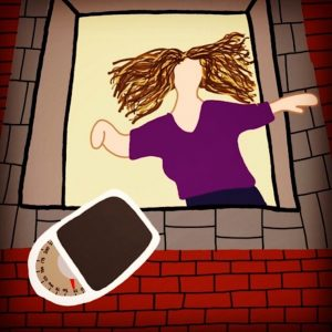 woman throwing scale out of window