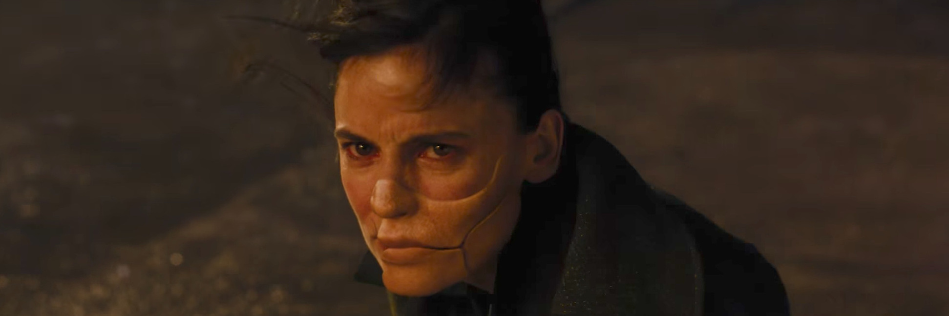 Dr. Maru from the movie Wonder Woman, wearing a mask covering half her face